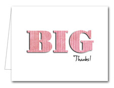 Note Cards: BIG Thanks Striped Pink