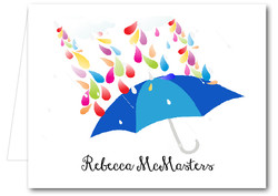 Note Cards: Raindrops Blue Umbrella
