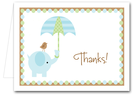 Blue Elephant Baby Shower Folded Note Cards & Thank You Notes