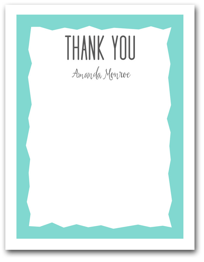 Tiffany Blue Zigzag Border Flat Note Cards