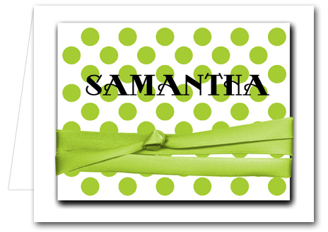 Note Cards Faux Ribboned Lime Dots On White Thank You Notes