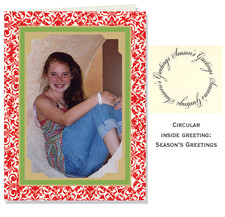 Green on Red Filigree Photo Cards