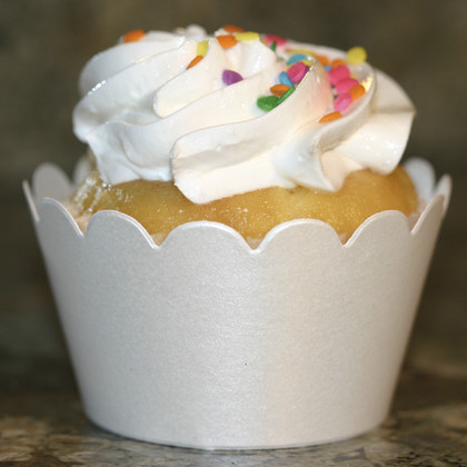 Shimmery White Cupcake Wrappers