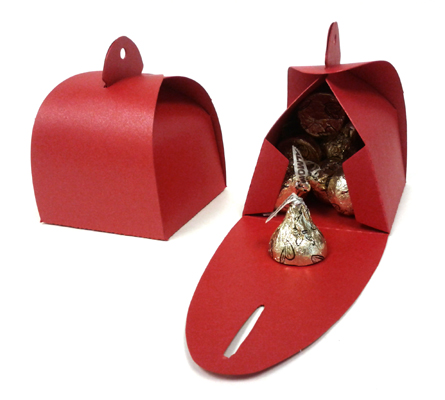 Shimmery Red Favor Boxes - Self-Closing Top