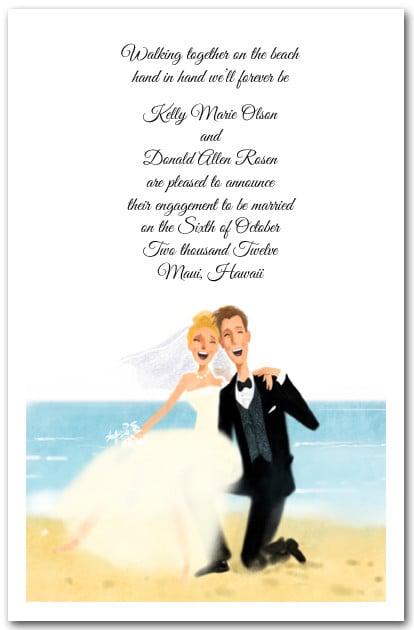 Beachside Bride Amp Groom Invitiations Engagement Invitations
