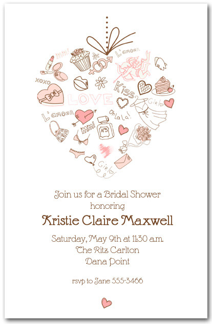 Love Heart Bridal Shower Invitations, Lingerie Bridal Shower