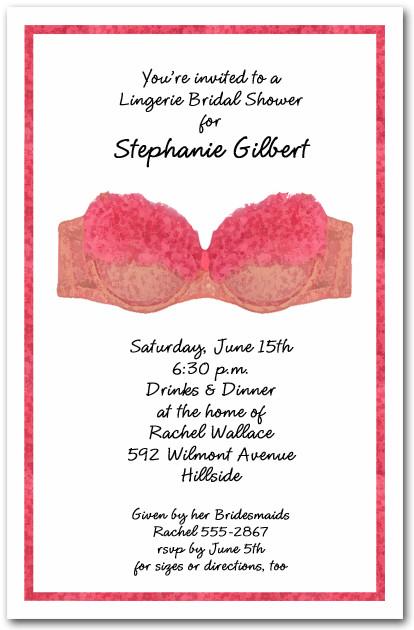 pink bra lingerie shower invitations