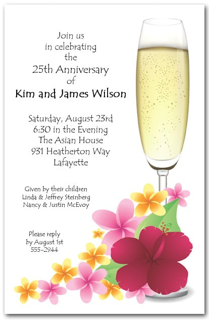 Plumeria Champagne Invitations Tropical Cocktail Party Invitations – Champagne Party Invitations