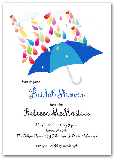 Raindrops Blue Umbrella Bridal