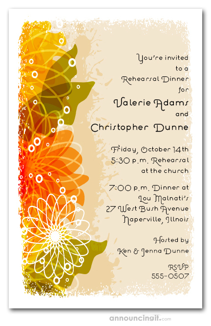 Autumn Floral Collage Invitations – Fall Party Invitation Wording