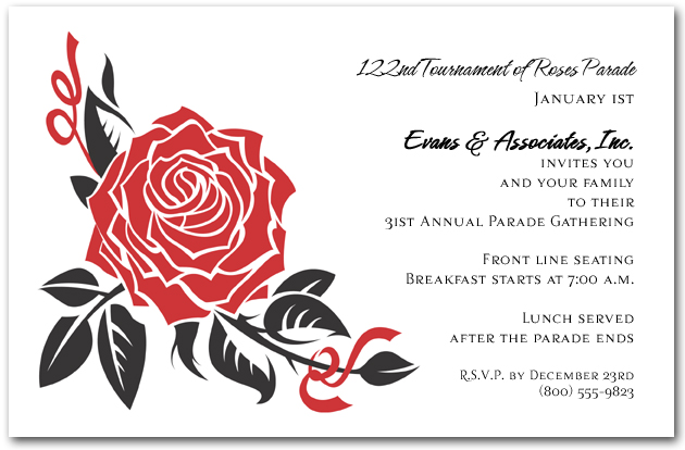 Black and Red Rose Invitations – Red Rose Wedding Invitation