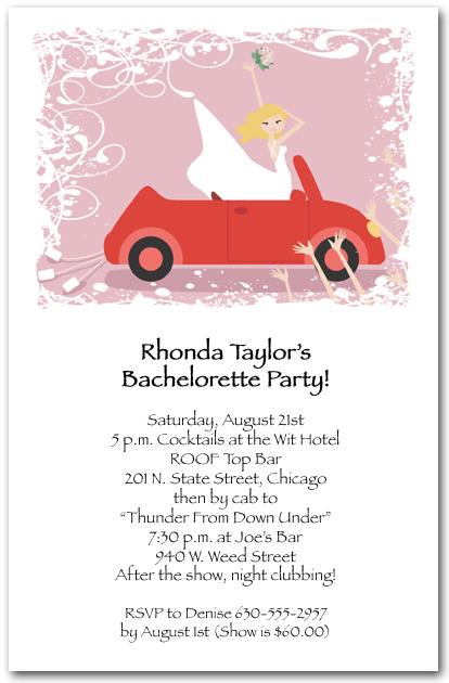 Blonde Bride in Red Convertible Shower Invitations Bachelorette – Bachelorette Party Invite Wording