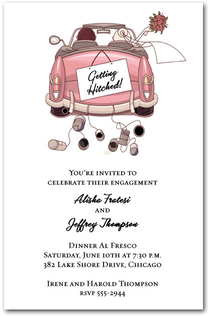 pink convertible wedding couple invitations, engagement invitations,