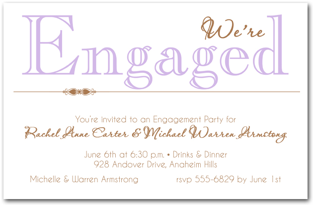 lilac engagement party invitations, Party invitations