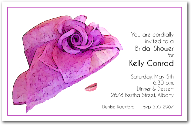 stunning floral lavender hat party invitations