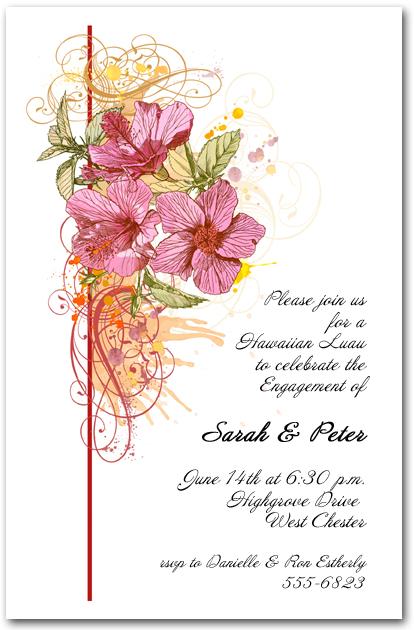 pink hibiscus swirl invitation  tropical flowers invitations
