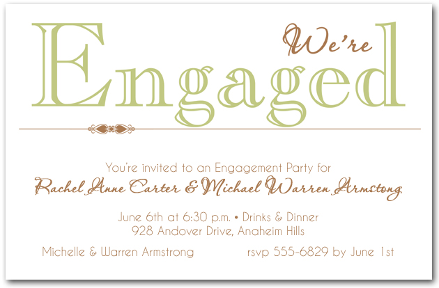 celery we're engaged party invitations, Party invitations