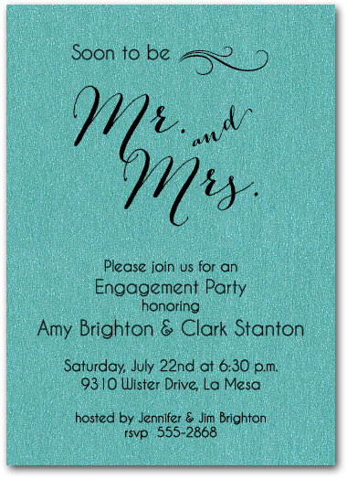 Shimmery Teal Mr Mrs Invitations Engagement Party Bridal Shower