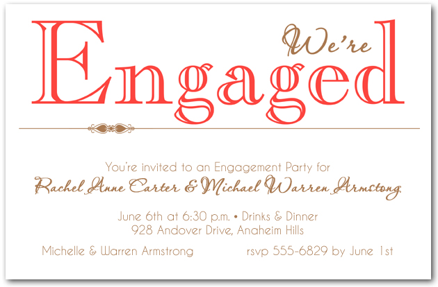Tangerine Were Enaged Party Invitations – Engagement Card Invitations