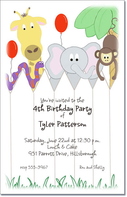 Animal Friends Baby Shower Invitations Gender Neutral