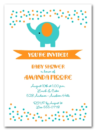 Elephant & Teal and Orange Dots Baby Shower Invitations