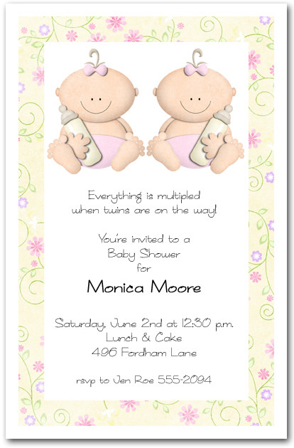 Babycakes Twin Girls Baby Shower Invitation
