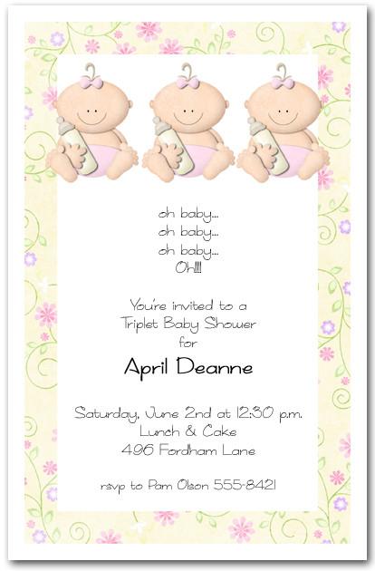 Babycakes triplet girl baby shower invitation babycakes triplet girl baby filmwisefo