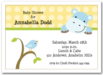 Baby Hippo & Bird Baby Shower
