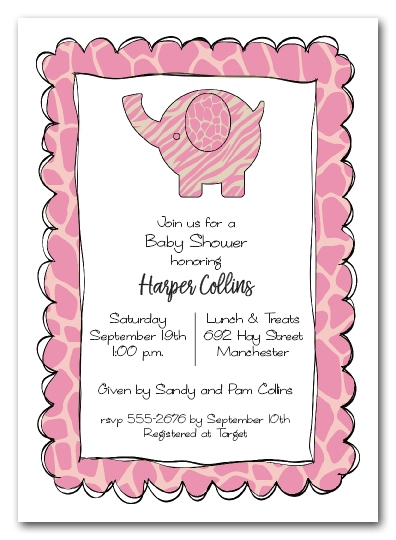 Exotic Elephant Pink Baby Shower Invitations