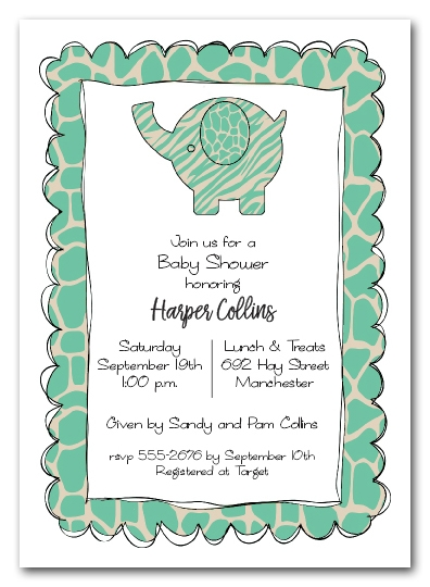 Exotic Teal Elephant Baby Shower Invitations