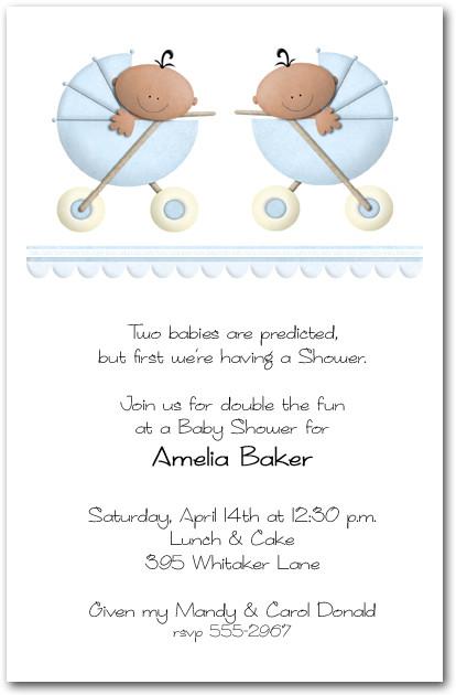 Ethnic Stroller Twin Boys Baby Shower Invitations