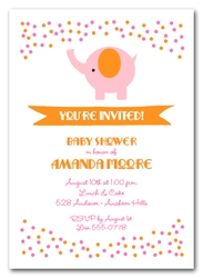 Elephant & Pink and Orange Dots Baby Shower Invitations