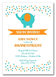 Elephant Teal and Orange Dots Baby Shower Invitations