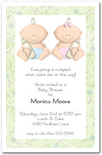 Babycakes Twin Girl & Boy Baby Shower Invitations