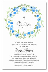 Blue Blooms Wreath Baptism Invitations