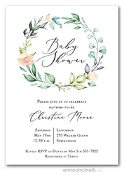 Elegant Soft Floral Wreath Baby Shower Invitations