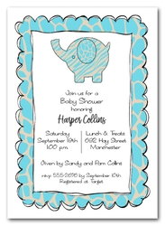Exotic Blue Elephant Baby Shower Invitations