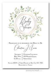 Pale Greenery Wreath Baby Shower Invitations