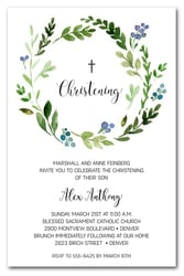 Blue Buds Wreath Baby Party Invitations