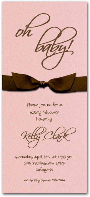 Shimmery Pink Brown Girl Baby Shower Invitation