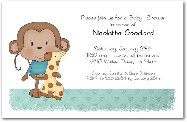 Boy baby monkey baby shower invitations filmwisefo