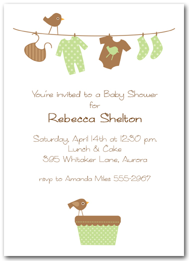 green  u0026 brown baby laundry line baby shower invitation