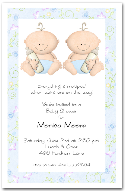 babycakes twin boy baby shower invitations