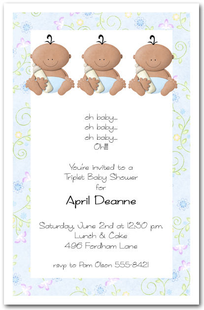 Babycakes ethnic triplet boy baby shower invitations filmwisefo
