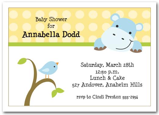 Baby hippo bird baby shower invitations unisex baby shower baby hippo bird baby shower filmwisefo