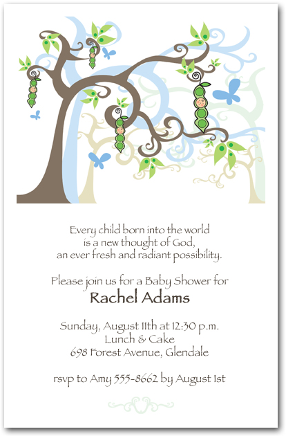 Boy Peapod Tree Baby Shower Invitations