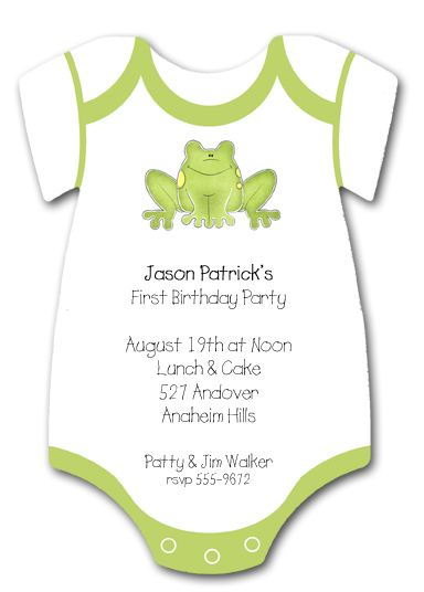 Zcut Frog Onsie Invitations For Showers Birthdays Jpg