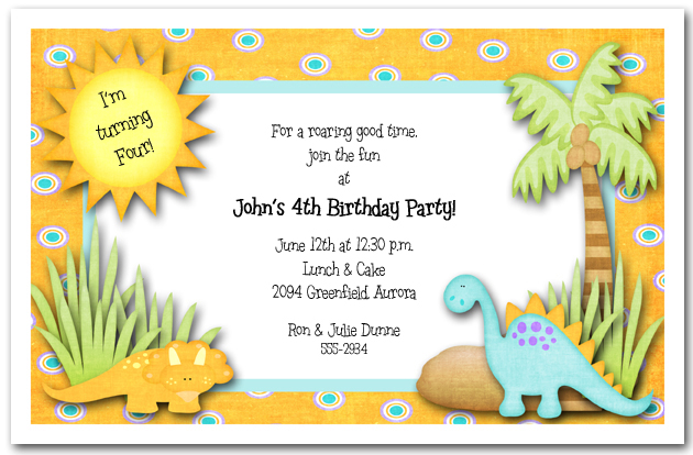 Dinosaurs Rule Party Invitations