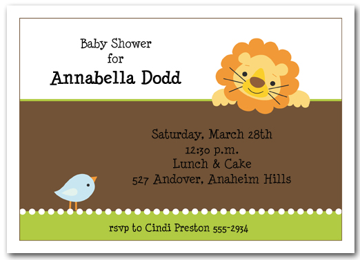 Lion Bird Baby Shower Invitation