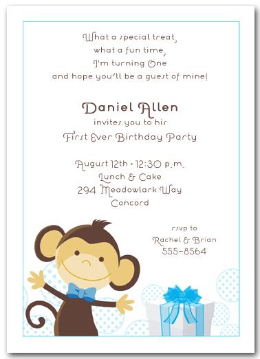 Boy Monkey Birthday Party Invitations
